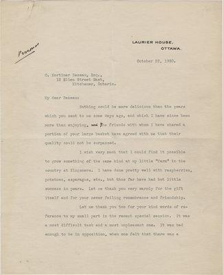 Letter from William Lyon Mackenzie King to C. Mortimer Bezeau, October 22, 1930