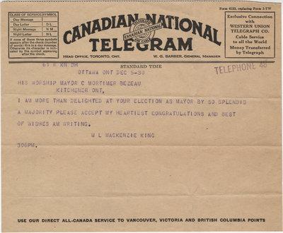 Telegram from William Lyon Mackenzie King to C. Mortimer Bezeau, December 5, 1930