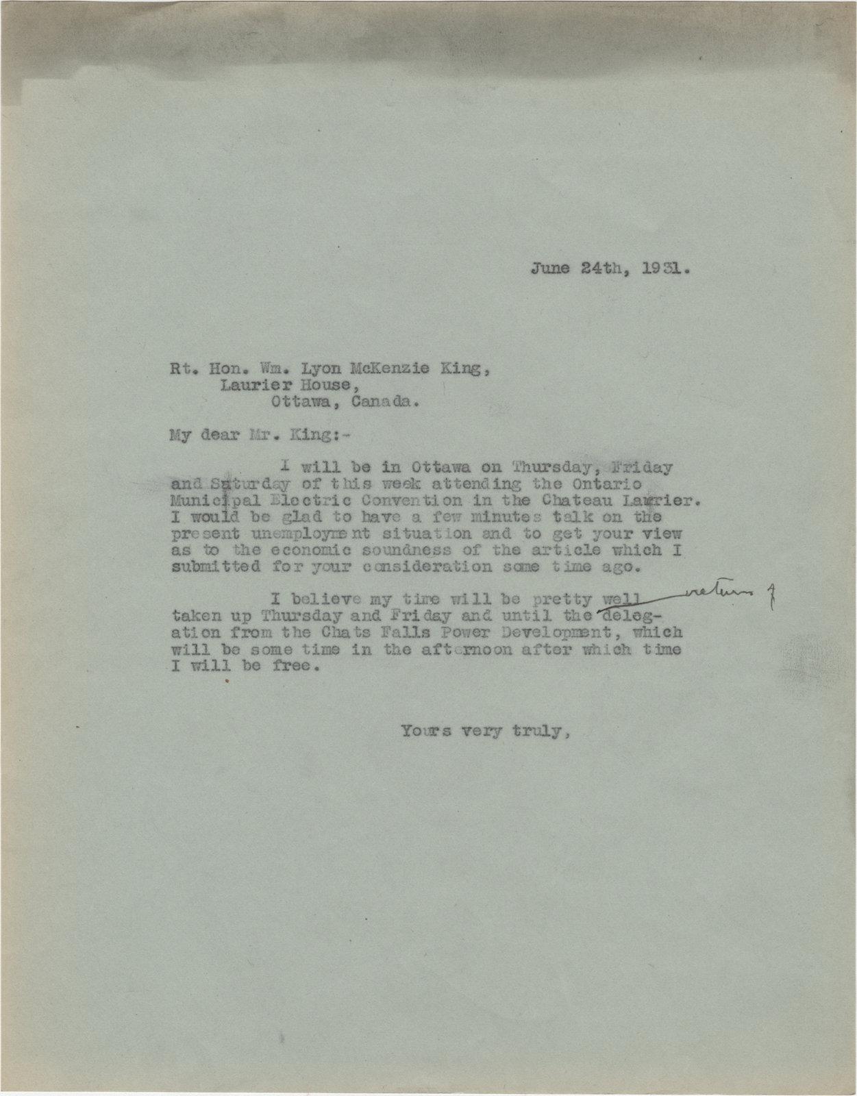 Letter from C. Mortimer Bezeau to William Lyon Mackenzie King , June 24, 1931
