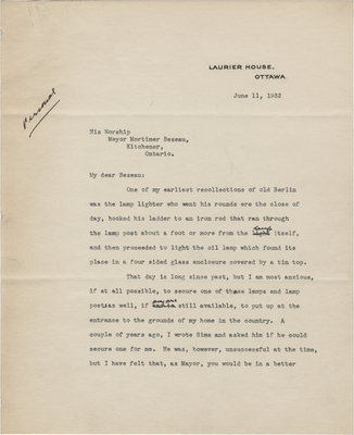 Letter from William Lyon Mackenzie King to C. Mortimer Bezeau, June 11, 1932