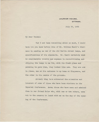 Letter from William Lyon Mackenzie King to C. Mortimer Bezeau, July 26, 1932