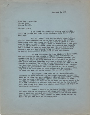 Letter from C. Mortimer Bezeau to William Lyon Mackenzie King, February 4, 1935