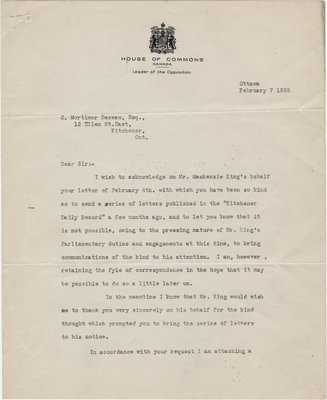 Letter from H. R. L. Henry to C. Mortimer Bezeau, February 7, 1935
