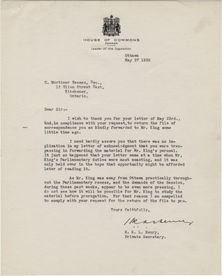 Letter from H. R. L. Henry to C. Mortimer Bezeau, May 27, 1935