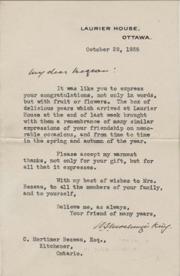 Letter from William Lyon Mackenzie King to C. Mortimer Bezeau, October 28, 1935