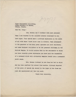 Letter from C. Mortimer Bezeau to William Lyon Mackenzie King, July 20, 1937