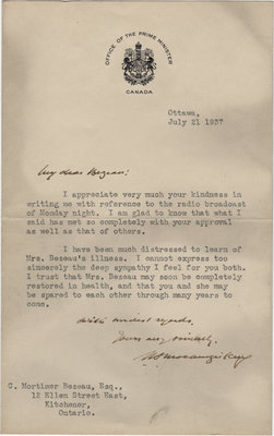 Letter from William Lyon Mackenzie King to C. Mortimer Bezeau, July 21, 1937