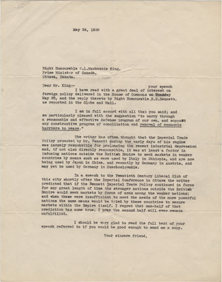 Letter from C. Mortimer Bezeau to William Lyon Mackenzie King, May 26, 1938