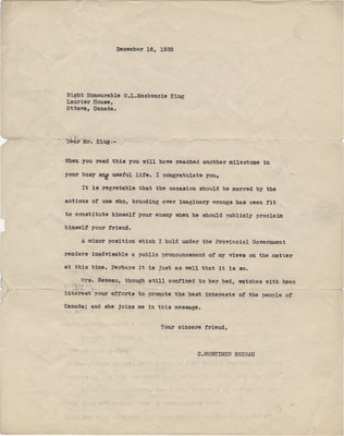 Letter from C. Mortimer Bezeau to William Lyon Mackenzie King, December 16, 1938