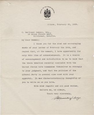 Letter from William Lyon Mackenzie King to C. Mortimer Bezeau, February 20, 1939