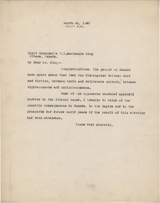 Letter from C. Mortimer Bezeau to William Lyon Mackenzie King, March 26, 1940