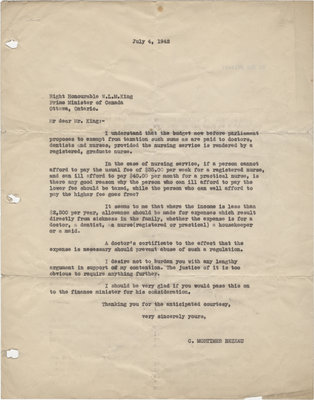 Letter from C. Mortimer Bezeau to William Lyon Mackenzie King, July 4, 1942