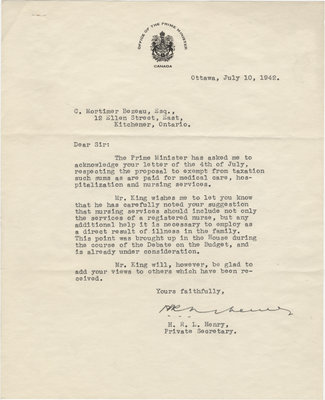 Letter from H. R. L. Henry to C. Mortimer Bezeau, July 10, 1942