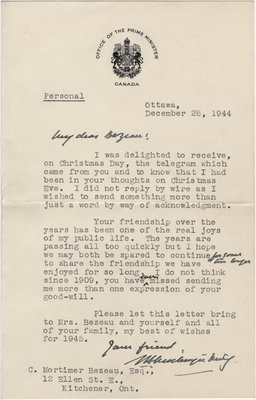 Letter from William Lyon Mackenzie King to C. Mortimer Bezeau, December 28, 1944