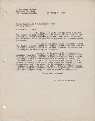 Letter from C. Mortimer Bezeau to William Lyon Mackenzie King, February 6, 1945