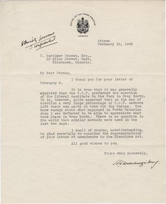 Letter from William Lyon Mackenzie King to C. Mortimer Bezeau, February 10, 1945