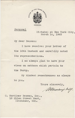 Letter from William Lyon Mackenzie King to C. Mortimer Bezeau, March 14, 1945