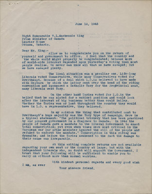 Letter from C. Mortimer Bezeau to William Lyon Mackenzie King, June 12, 1945