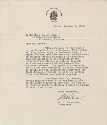 Letter from R. G. Robertson to C. Mortimer Bezeau, October 3, 1945