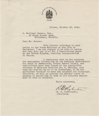 Letter from R. G. Robertson to C. Mortimer Bezeau, October 18, 1945