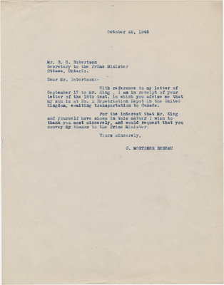 Letter from C. Mortimer Bezeau to R. G. Robertson, October 22, 1945