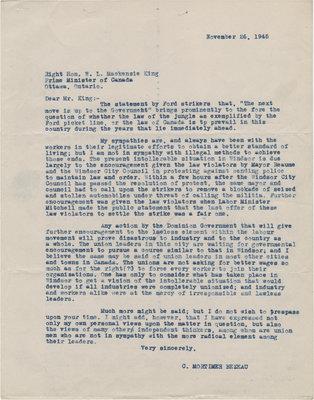 Letter from C. Mortimer Bezeau to William Lyon Mackenzie King, November 26, 1945
