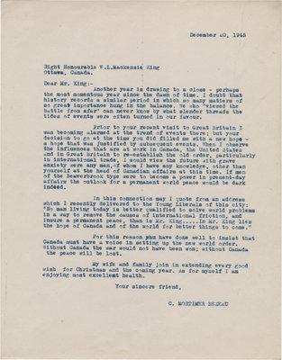 Letter from C. Mortimer Bezeau to William Lyon Mackenzie King, December 20, 1945