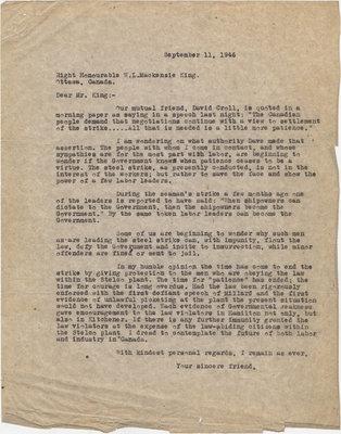 Letter from C. Mortimer Bezeau to William Lyon Mackenzie King, September 11, 1946