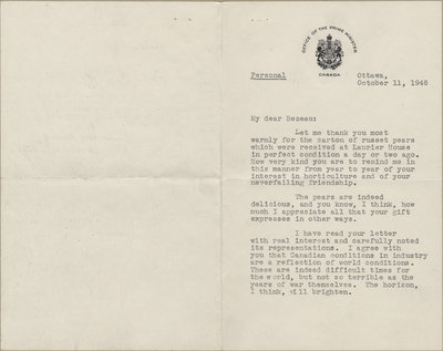 Letter from William Lyon Mackenzie King to C. Mortimer Bezeau, October 11, 1946