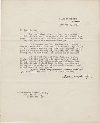 Letter from William Lyon Mackenzie King to C. Mortimer Bezeau, October 8, 1949