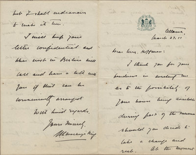 Letter from William Lyon Mackenzie King to Mrs. C. E. Hoffman, March 27, 1911