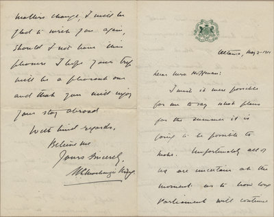 Letter from William Lyon Mackenzie King to Mrs. C. E. Hoffman, May 2, 1911