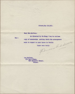 Letter from Francis Giddens to Mrs. C. E Hoffman, May 19, 1911