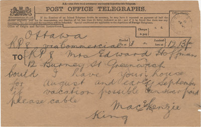 Telegram from William Lyon Mackenzie King to Mrs. C. E Hoffman, July 27, 1911