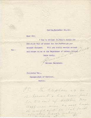 Letter from Francis Giddens to C. L. Laing, September 23, 1911