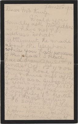 Letter from Mrs. C. E. Hoffman to William Lyon Mackenzie King, January 28, 1912