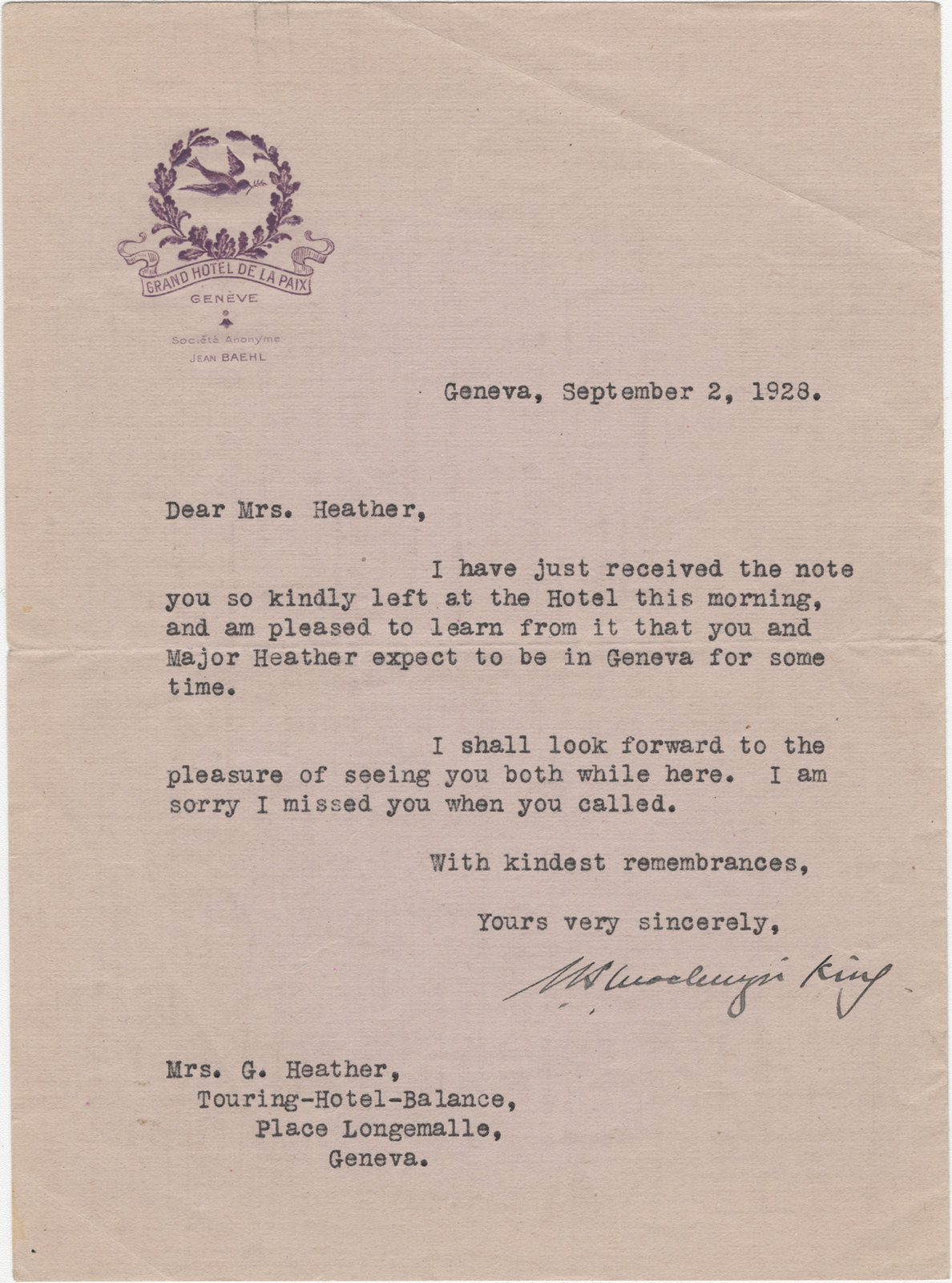 Letter from William Lyon Mackenzie King to Mrs. George A. Heather, September 2, 1928