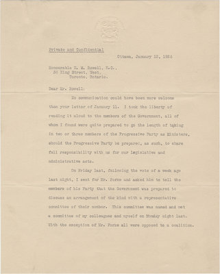 Letter from William Lyon Mackenzie King to N. W. Rowell, January 22, 1926