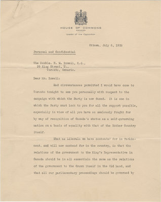 Letter from William Lyon Mackenzie King to N. W. Rowell, July 6, 1926