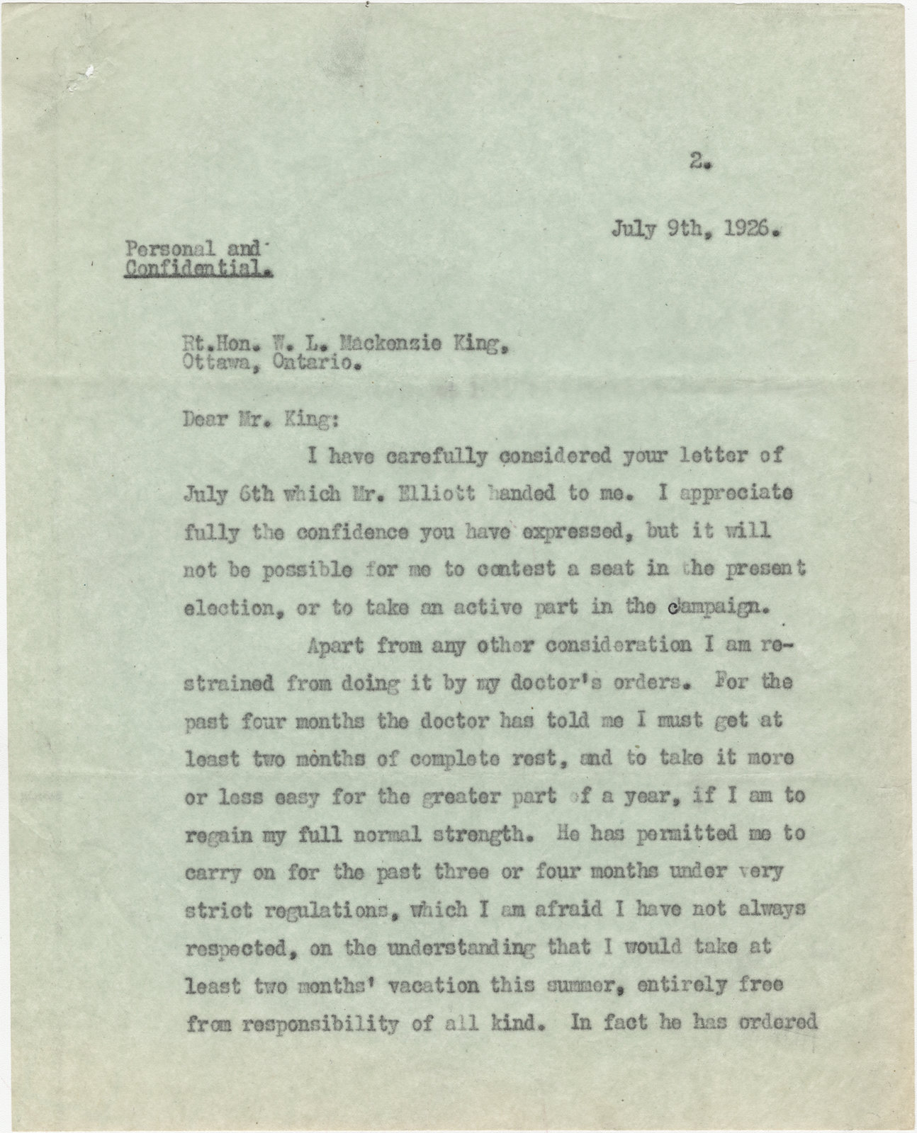 Letter from N. W. Rowell to  William Lyon Mackenzie King, July 9, 1926