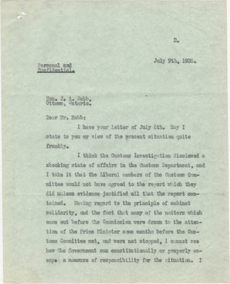 Letter from N. W. Rowell to  J. A. Robb, July 9, 1926