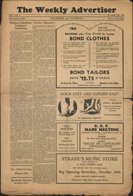The Weekly Advertiser - Vol. 1, no. 4, 12 October 1933