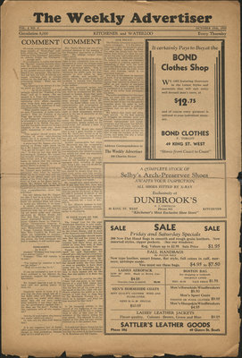 The Weekly Advertiser - Vol. 1, no. 5, 19 October 1933