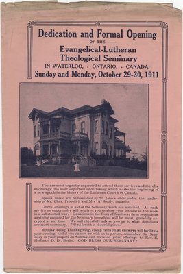 Dedication and formal opening of the Evangelical-Lutheran Theological Seminary in Waterloo, Ontario, Canada