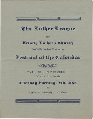 Programme for the Festival of the Calender, February 21, 1911
