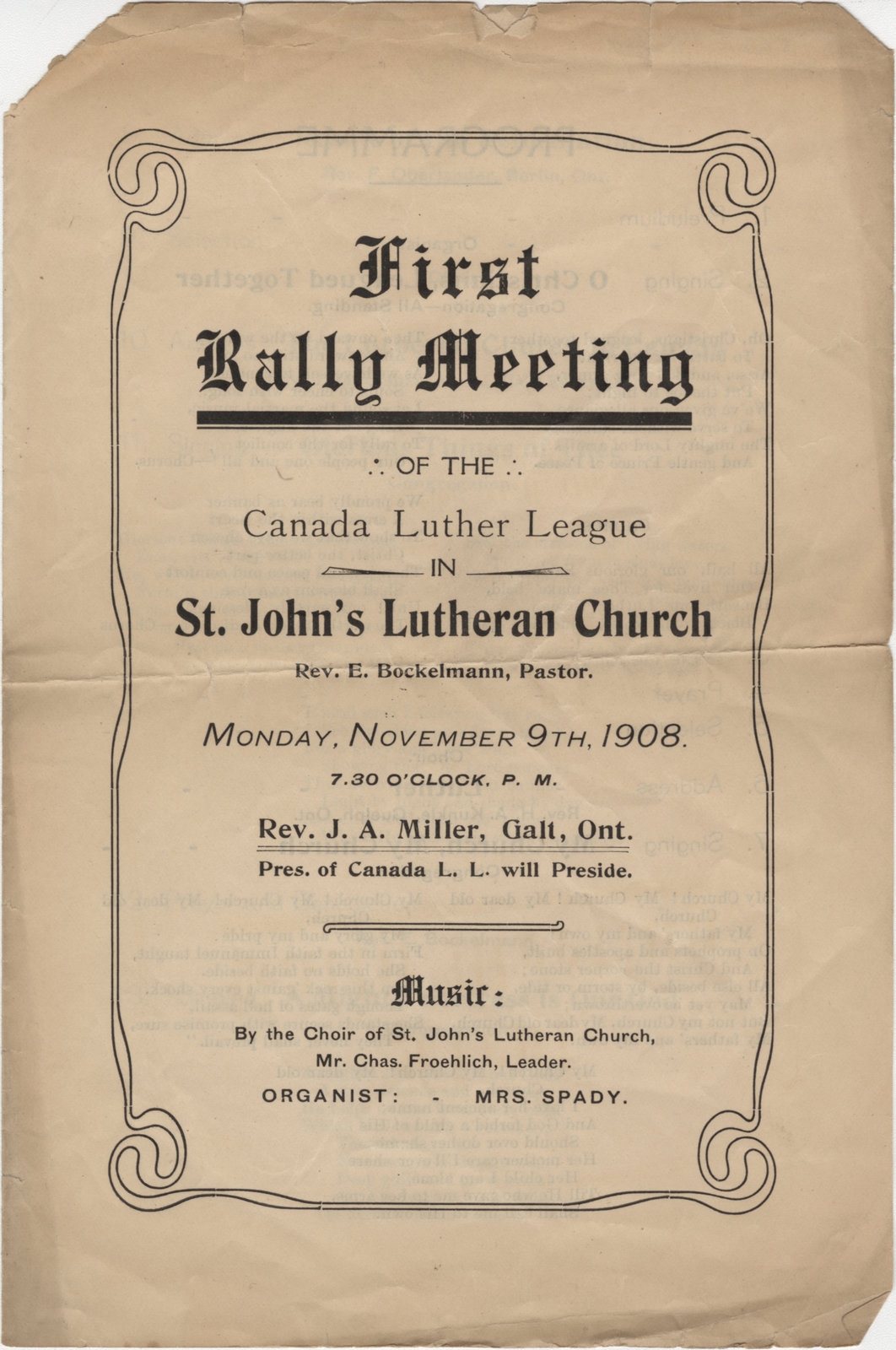 First rally meeting of the Canadian Lutheran League in St. John's Lutheran Church, 1908