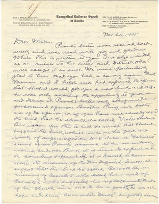 Letter from C. H. Little to Candace Little, November 24, 1935