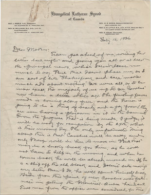 Letter from C. H. Little to Candace Little, February 16, 1936