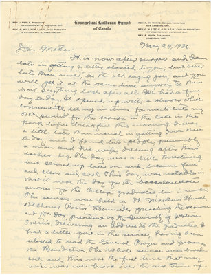 Letter from C. H. Little to Candace Little, May 24, 1936
