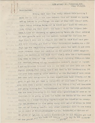 Letter from C. H. Little to Candace Little, July 16, 1939